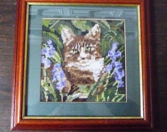 "Vintage Needlepoint PIcture Tabby Cat among Bluebells 13 1/2"" x 13 1/2"""