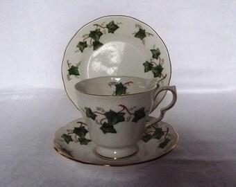 SALE: 1991 Vintage Colclough 'Ivy Leaf' Trio - Tea Cup, Saucer and Tea Plate