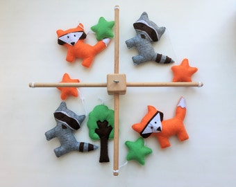 Baby Mobile, Woodland Baby Mobile, Fox and Racoon Baby Mobile READY TO SHIP