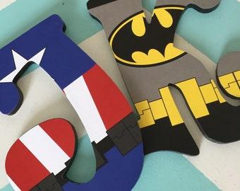 Custom Decorated Wooden Letters - Super Heroes - Batman - Spider Man - Superman - Hulk - Captain America - Iron Man