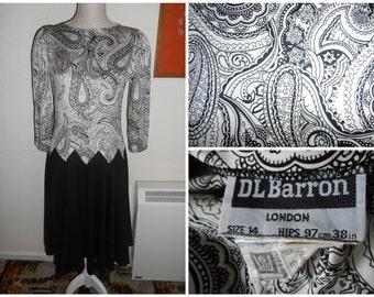 Vintage Retro Black & White Paisley Print 1980s Dress By DL Barron UK Size 12 14 (Party Dress)