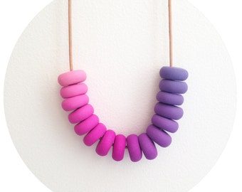 Very Berry - Purple and Pink Handmade Polymer Clay Bead Necklace