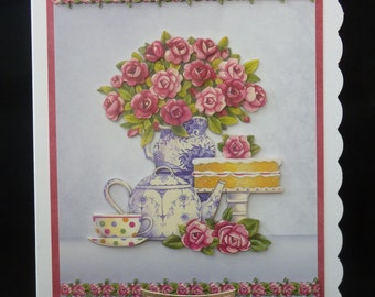 Handcrafted 3d Decoupage Afternoon Tea Birthday Card with verse - Made in Uk - Beautiful female design