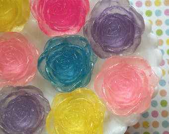 30mm Flower Cabochon Mix (5 pieces) Resin Flower Flat Back Cabochons