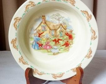 Vintage Bunnykins Royal Doulton Soup Bowl, Cereal Bowl Bone China Collectable 1936
