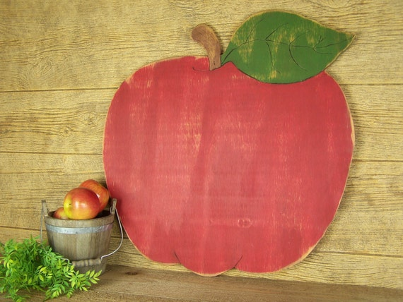 country apple decor fall decor wooden apple sign apple kitchen