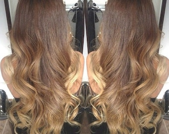 Balayage Dip Dye 8A Remy Synthetic Heat Resistant Ombre Hair Extensions Colour 10 Ash Brown  Colour  Ash Blonde  130g