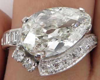 4.09ct Estate Vintage Old Pear Diamond Engagement Wedding Platinum Ring EGL USA