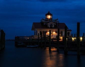 Marsh's Light Lighthouse in Manteo NC in the evening at Christmas.
