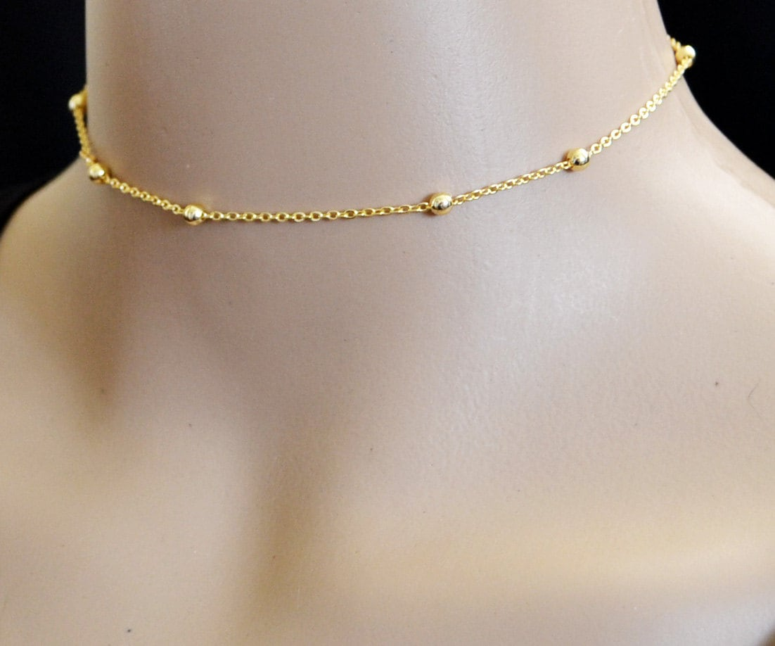 dainty gold choker 13 inch gold bead choker or by