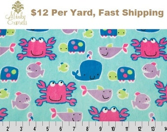 Minky Fabric By the Yard. Go Fish Cuddle Saltwater fuchsia Sealife Crabs Whale Turtle Fish Minky at Wholesale Prices
