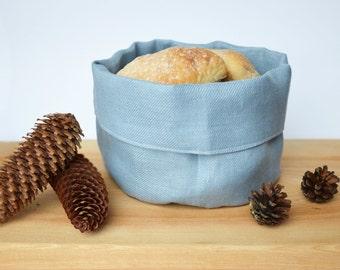 Linen bread/storage basket - Sky blue / soft blue natural linen bread serving basket