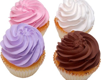 Artificial Cupcakes 4 Pack Assortment Plain