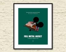 FULL METAL JACKET Minimalist Movie Poster. Stanley Kubrick. Minimalist Poster. Micky Mouse. Vietnam War. Alternative Movie Poster.