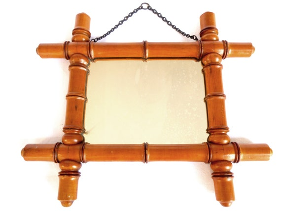 Old wood imitation french bamboo mirror mirror vintage wall for Miroir french to english