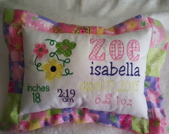 Personalized baby pillow.Keepsake Baby Girl pillow with flowers and pink fabric.Personalized pillow for kids. Baby Girl Embroidered pillow.