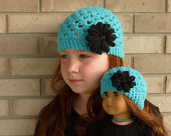 Matching Girl & Doll Hat Set--Turquoise with Black Flower