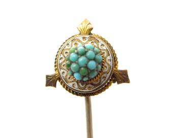 Antique Edwardian Pave Turquoise Hat Pin Hatpin Stick Pin