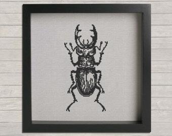 Horned Beetle Cross Stitch PDF Pattern, DIY Cross Stitch, wall hanging
