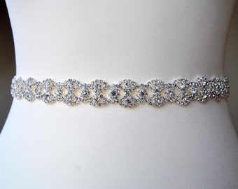 "18 - 36"" Wedding Bridal Sash Belt,Wedding Dress Sash Belt,  Rhinestone Sash,  Rhinestone Bridal Bridesmaid Sash Belt, Wedding dress sash"
