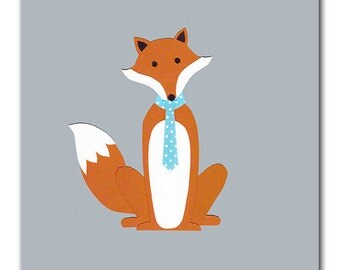 Fox Nursery Art Print, 8x10 or 5x7 Prints, Boys Bedroom, Kids Bathroom, Kids Wall Art, Playroom Art, Foxy, Dapper Fox, Tie, Necktie
