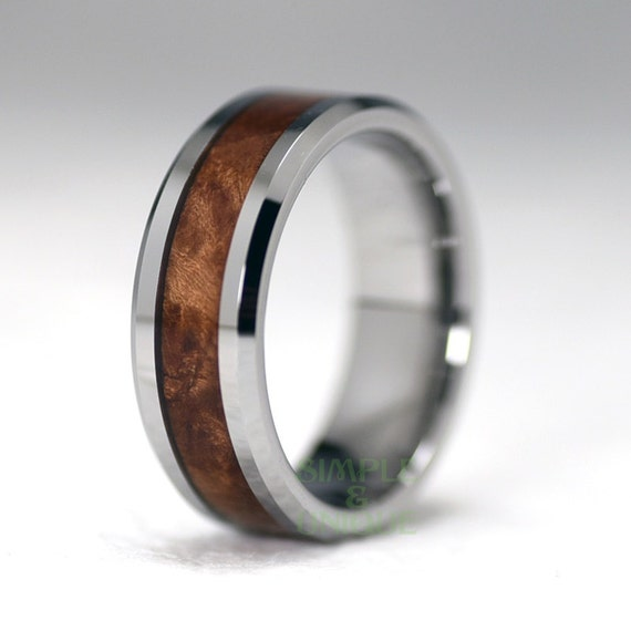 8mm Mens Wedding BandMens Wood Wedding BandMahogany Wood