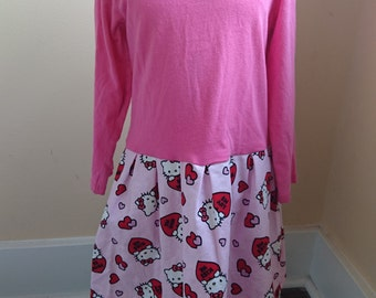 Valentine Dress - Hello Kitty Dress - Pink long sleeved Hello Kitty Valentine's Day Be Mine t-shirt Party Dress toddler size 4T
