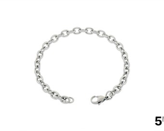 "Women's Anklet, 5mm Cable Chain Ankle Bracelet, Girl's Cute Anklet, Silver Anklet, 316l Stainless Steel Anklet, 7""-14"", FREE Shipping!"