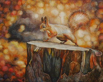 Squirrel on a tree stump. Original watercolor painting.