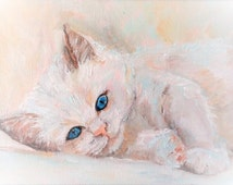 "Oil painting , kitten , "" blue-Eyed snowflake """