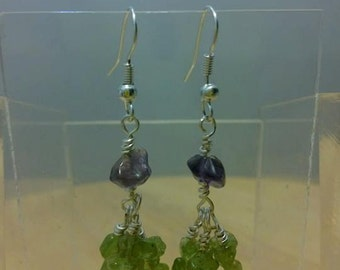 Peridot and amethyst earrings