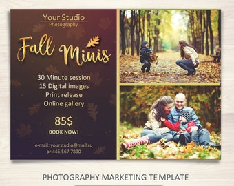 Fall Mini Session Template - Photography Marketing Board - Christmas Minis - Photoshop Template