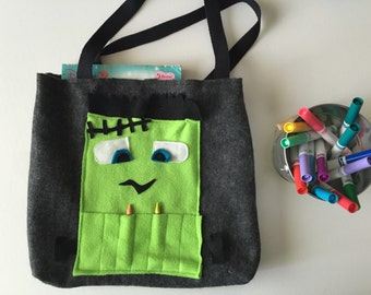 Frankenstein Kids Coloring Tote Crayon Bags Monster Tote Kids Tote Child's Gift Monster Art Tote Bag for Kids Monster Bag  Monster Gift