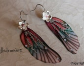 boucles d'oreilles argent acier vintage elfique fée ailes libellule rose blanc fleurs