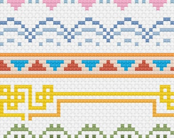 Assorted cross stitch border patterns - PDF download