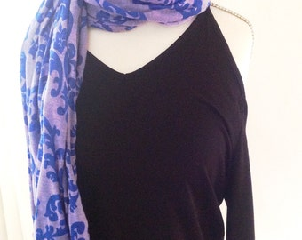 Scarf - long, skinny lilac and blue paisley scarf