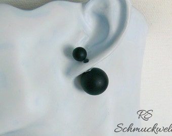 Double Pearl Earrings Pearl Earrings black goth punk Halloween Christmas