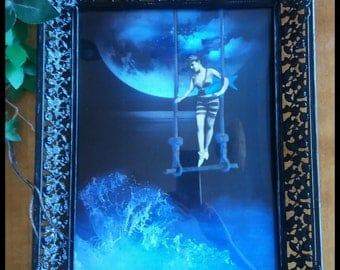 Handmade surreal digital art in altered frame wall decor