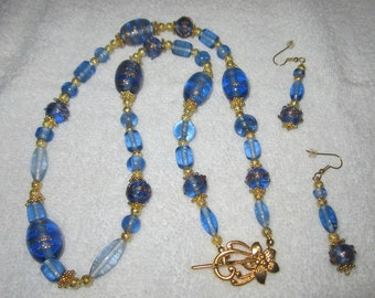 Jewelry set Necklace and Earrings Necklace Set Necklace Earrings Blue Glass Beads Blue Lampwork Beads Handmade One of a kind Ooak Set Gift