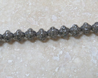 Crystal Antique Silver Designer Pressed Glass Beads 6 mm Beads (1) Strand