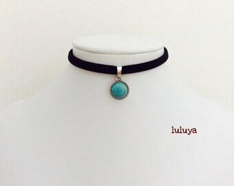 Black Handmade Stretch Choker Necklace Dainty Blue Turquoise Stone Charm Gift Birthday Favor