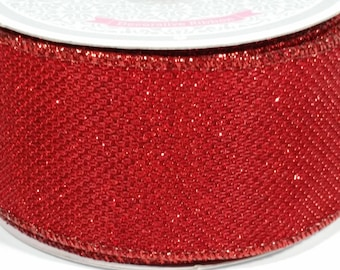 "2"" Shiny Metallic Ribbon - Red - 10 Yards"