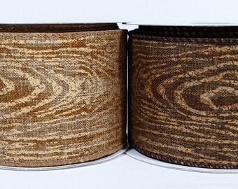 "2 1/2"" Canvas Wood Print Ribbon - 10 Yards"