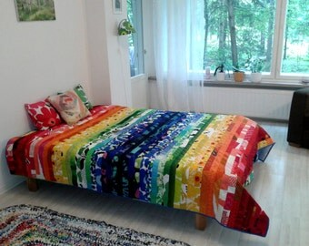 Modern quilt made from Marimekko fabric, Scandinavian rainbow patchwork contemporary bed quilt, King, Queen Twin bed cover, stripe quilt