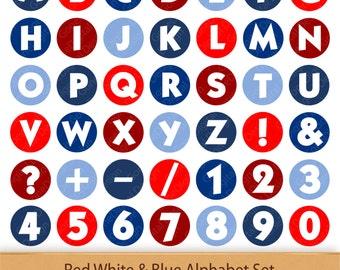 Digital Alphabet Red White And Blue Independence Letter Art Boy Digital Alphabet Fourth of July Printable Alphabet Patriotic Letters Clipart