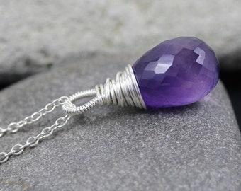 Large AAAA Amethyst & Sterling Silver Pendant. Wire Wrapped Teardrop Necklace. Purple Semi Precious Gemstone Jewelry. Pendant Charm. Dangle