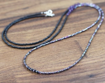 Amethyst Long Beaded Necklace. Purple Gemstone & Miyuki Seed Bead Necklace. Boho Wrap Bracelet. Hippie Jewelry. Dainty Bead Necklace.