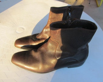 Men's Vintage Italian Brown Leather Ankle Boots Size 7