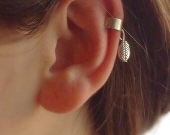 Leaf Ear Cuff, Leaf Earrings, Silver Leaf Ear Cuff, Cuff&Wrap Earrings, Charm Earrings