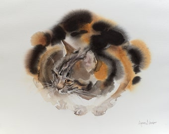 Calico - original watercolor painting